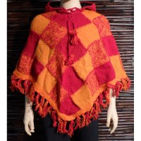 Poncho à capuche arlequin orange