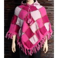 Poncho à capuche arlequin rose