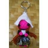Porte clés poupée lutin rose