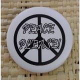 Badge peace please blanc