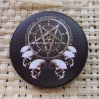 Badge tête de mort noir & blanc pentacle