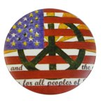 Badge Peace and Love Drapeau Américain