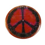 Badge Peace and Love Noir sur fond rouge