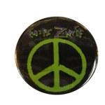 Badge Peace and Love Vert sur fond noir