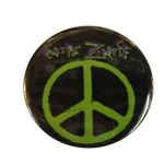 Badge Peace and Love Vert sur fond noir