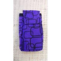 Pochette portable motif géo mauve