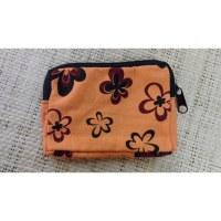 Porte-monnaie fleurs orange