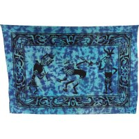 Tenture danse tribale bleue