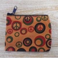 Porte monnaie peace and love orange