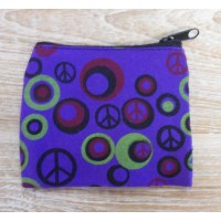 Porte monnaie peace and love violet