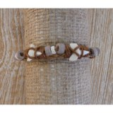 Bracelet cuir  marron dents de requin