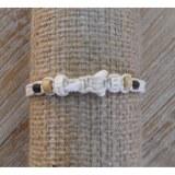 Bracelet macramé blanc dent de requin