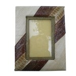Cadre photo nature rectangle moyen marron et beige