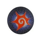 Ecusson tribal spirale étoilée orange GM