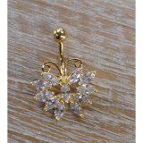 Piercing nombril plaqué or & strass butterfly