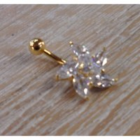 Piercing nombril plaqué or & strass virevent