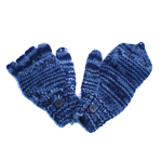 Mi-moufles bleu/gris