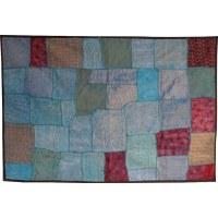 Tenture indienne patchwork bleue