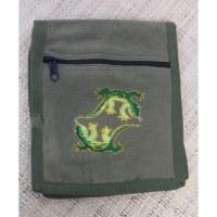 Sac passeport kaki salamandres brodées