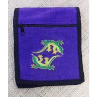 Sac passeport violet salamandres brodées