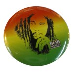 Badge Bob Marley Fond vert jaune rouge
