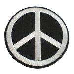 Patch Peace and Love blanc sur noir