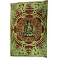 Tenture lotus Bouddha vert