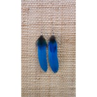 Boucles d'oreilles plume bleu ciel