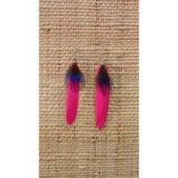 Boucles d'oreilles plume rose fluo