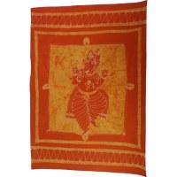 Tenture batik Ganesh dansant orange