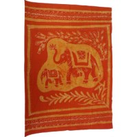 Tenture batik éléphants Corbett orange