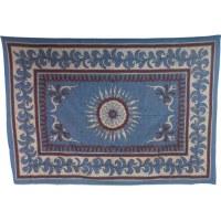Tenture fleur et arabesque bleue