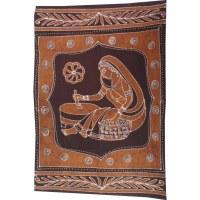 Tenture batik jeune femme en sari