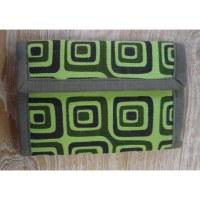 Portefeuille vert carrés