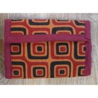Portefeuille orange carrés