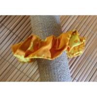 Chouchou fantaisie orange fleurs jaunes