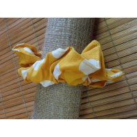Chouchou fantaisie orange pois blancs
