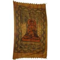Tenture striée bouddha sous l'arbre bodhi