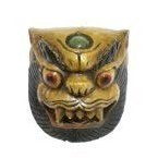 Masque de démon tibétain bois naturel