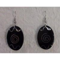 Pendants d'oreilles ovales spirale argentée