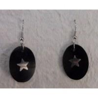 Pendants d'oreilles ovales étoile argentée