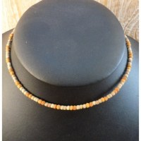 Collier ras de cou beige/orange