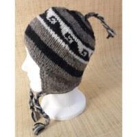 Bonnet en laine bistre vagues
