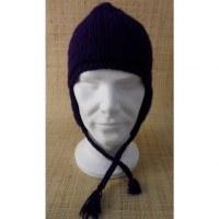 Bonnet en laine unie aubergine