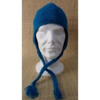 Bonnet en laine unie bleu mer du sud