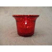 Photophore verre rouge moucheté