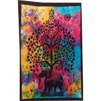 Mini tenture multicolore arbre de vie et éléphant