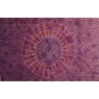 Tenture violette éventail floral coeur vert