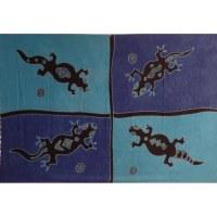 Tenture bleue 4 lézards