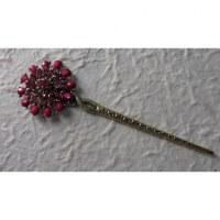 Pic à cheveux fleur strass rose